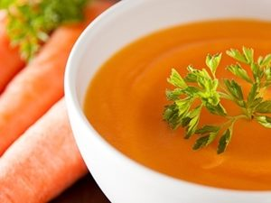 Cream of carrot soup with croutons